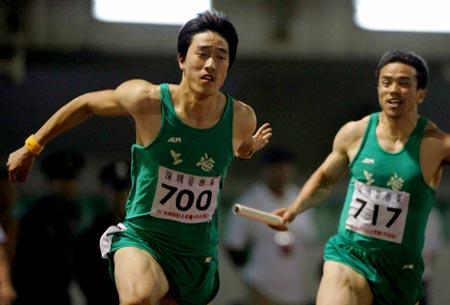 图文:全国田径大奖赛 刘翔在4X100米决赛中