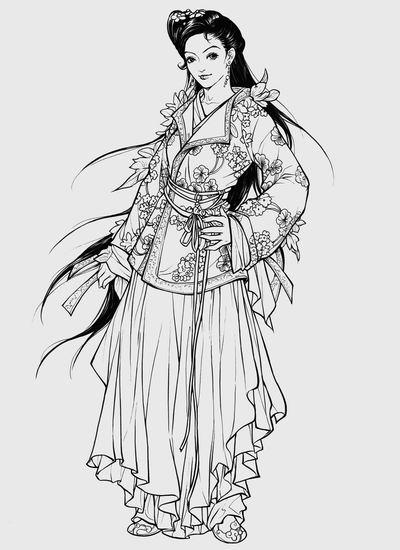 武侠美女手绘线稿