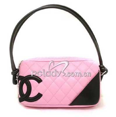 粉红双色横式康朋(combon)手提包