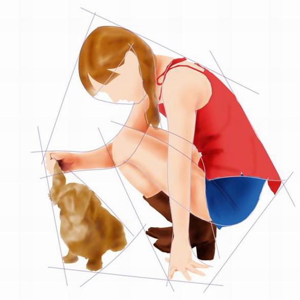 photoshop绝对超强手绘教程:少女与小狗