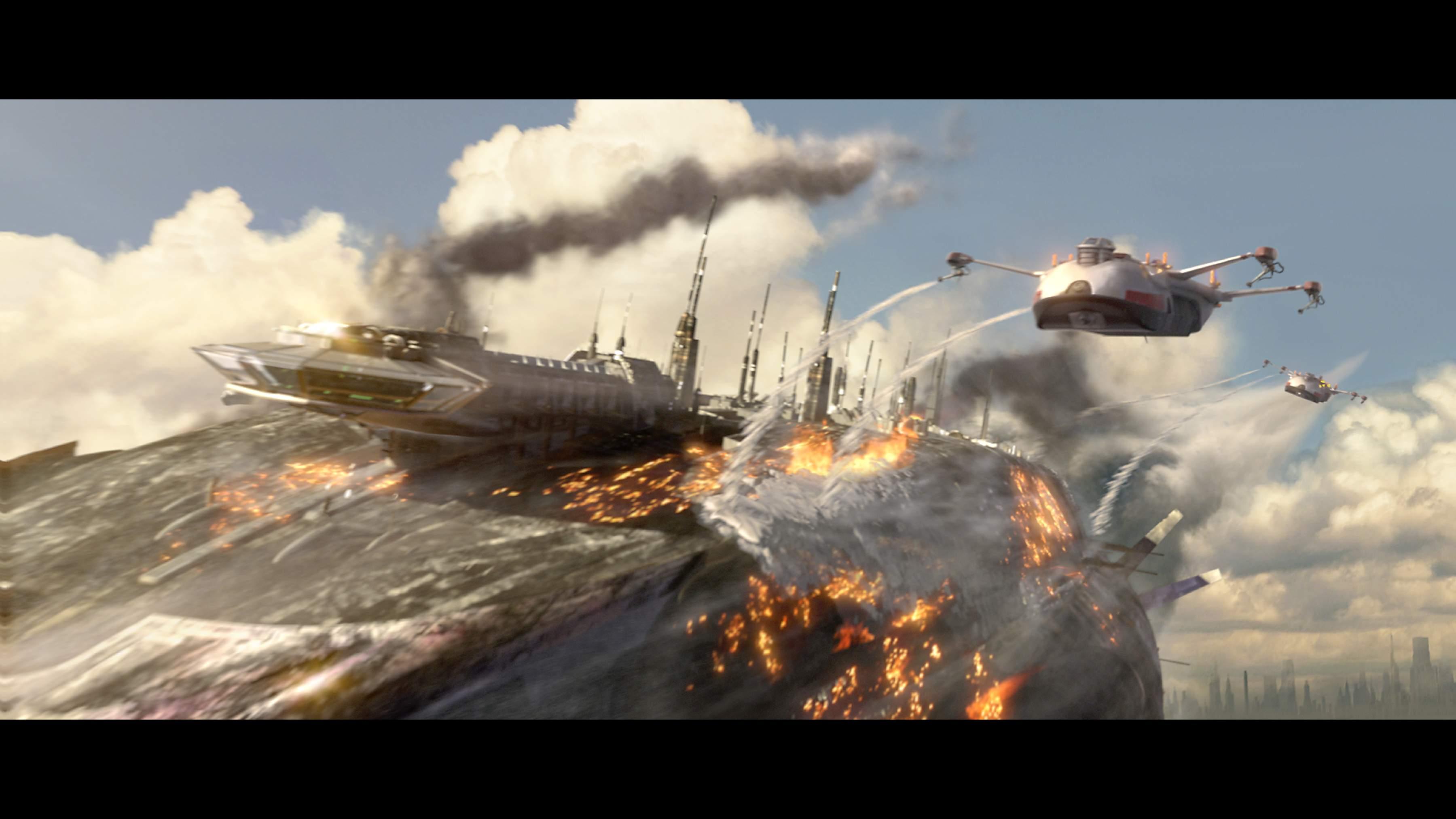 图:《星球大战前传3》精彩剧照-飞船灭火