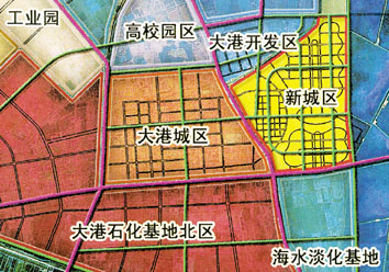 """""""港东新城""""规划示意图.-港东新城 ,将在荒地崛起"""