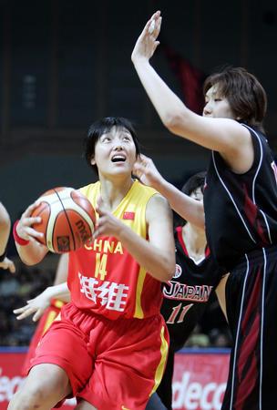 图文:张晓妮在比赛中带球突破