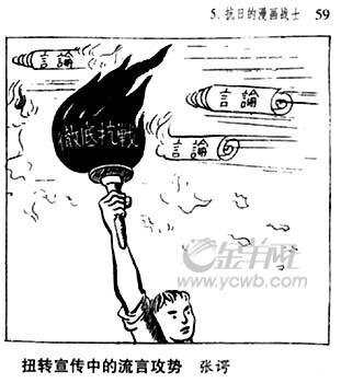 张谔的作品有不少是揭露德国侵略苏联和日本侵略中国的讽刺漫画.