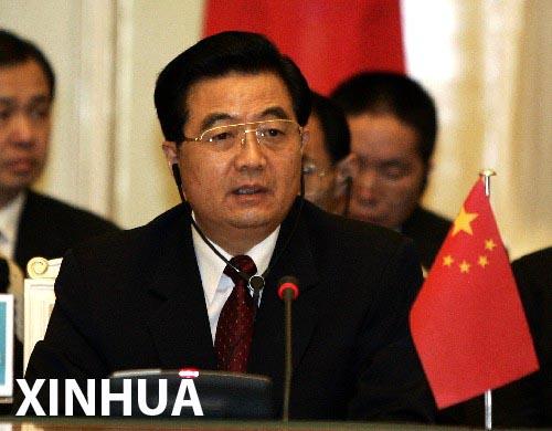 胡锦涛出席上海合作组织峰会并发表讲话(组图)