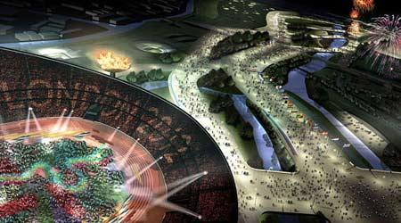 图文:伦敦将举办2012奥运会 鸟瞰体育馆