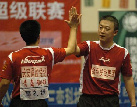 [体育](3)乒乓球�D�D乒超联赛:陕西银河国梁队胜北京首旅队