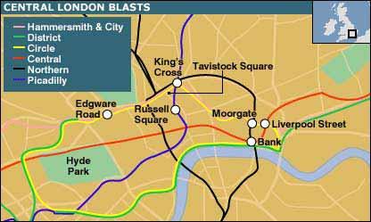 图文:发生地铁爆炸的伦敦六处地铁站