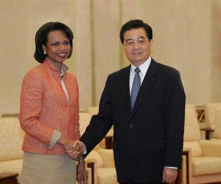 胡锦涛会见美国国务卿赖斯