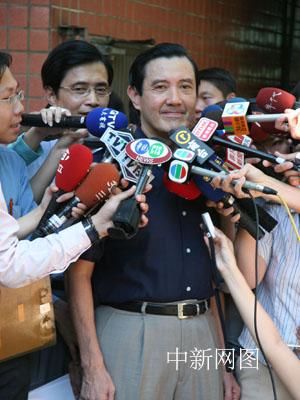图:马英九选举投票前接受媒体采访