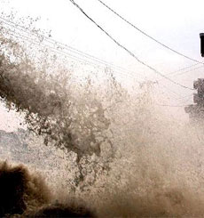 """台风""""海棠""""严重影响浙江温岭沿海"""