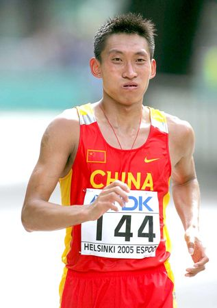 图文:田径世锦赛 韩玉成未完成男子50公里竞走
