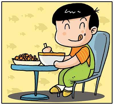 """""""谁知盘中餐,粒粒皆辛苦""""呀,好孩子要珍惜粮食.图片"""