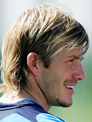 David Beckham at training session with England