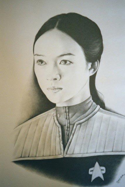 网友手绘章子怡肖像 以假乱真维妙维肖(组图)