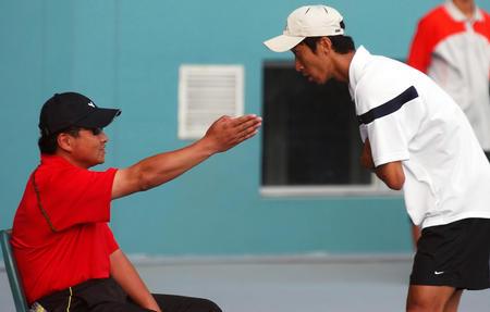 图文:十运会男子网球半决赛