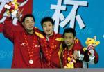 图文:十运会游泳 男子1500米自由泳前三名
