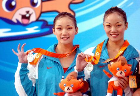 玲花泳_图文:花样游泳姊妹花 蒋婷婷、蒋文文在比赛中-搜狐体育