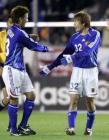 图文:友谊赛-日本小胜安哥拉 日本队员庆祝