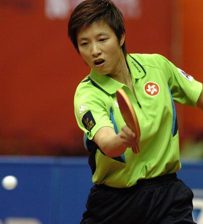 乒联巡回赛决赛 林菱在比赛中回球