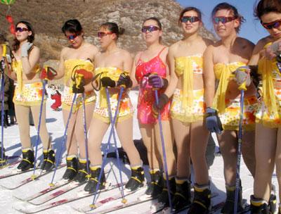 Skiing in bikini