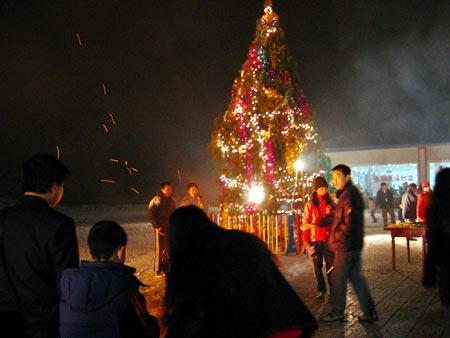 焰火表演 烧烤晚会 绚丽缤纷圣诞夜晚