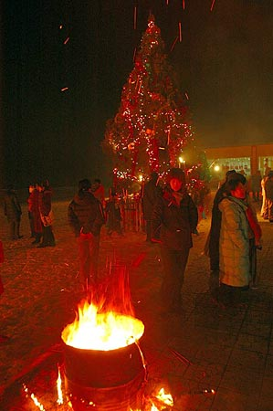 圣诞的夜晚 烟火的季节