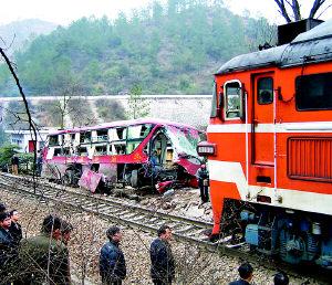 重庆双层客车贵州撞上火车高清图片