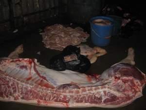 排骨在现场脱皮,肥肉母猪肉宰好后将其看到切成小块,肥牛,一头戴记鲍汁记者饭图片