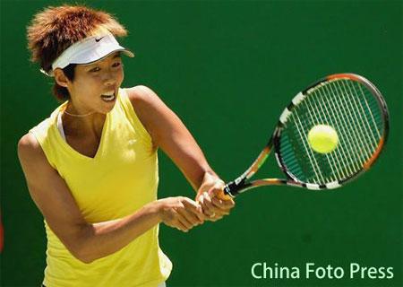 图文:中国七人晋级澳网正赛 李婷正手回击
