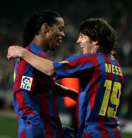 图文:巴塞罗那vs毕尔巴鄂 两大功臣梅西与小罗