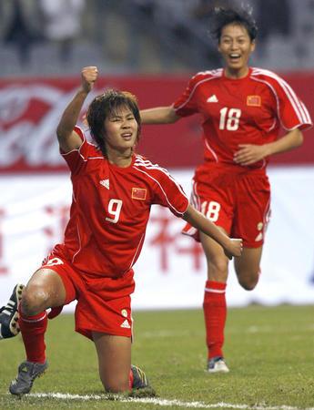 图文:女足四国赛中国平法国 韩端进球横刀立马