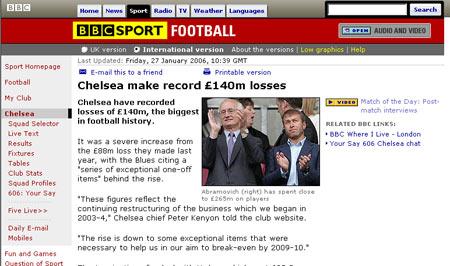 切尔西新年度财政报告 恶性增长创足球亏损记录