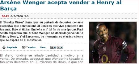 温格惊爆有意出售亨利 报价明确定在7000万欧元