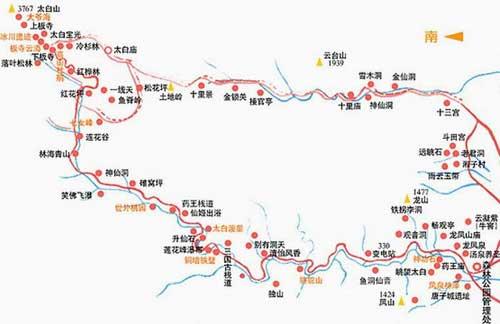 太白山旅游线路地图