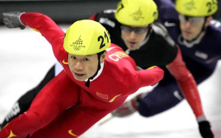 图文:冬奥男子短道速滑1000米 李野在决赛中