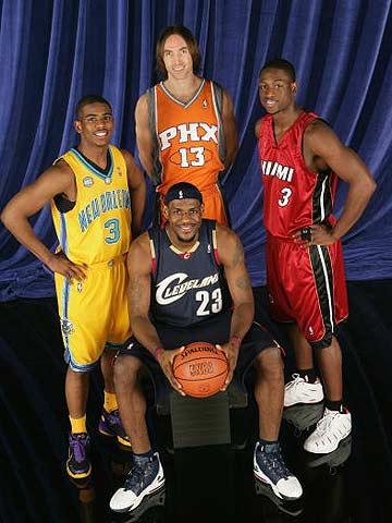 "NBA图:全明星技巧挑战赛 赛前的""全家福"""