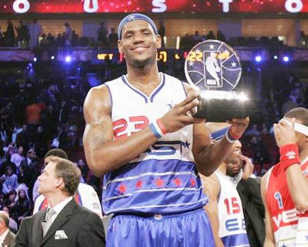詹姆斯力压麦蒂获MVP 职业生涯三年获星中之星
