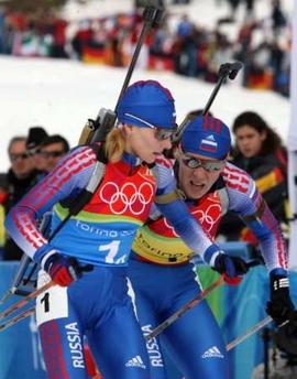 图文:冬季两项女子4×6公里接力 俄罗斯选手