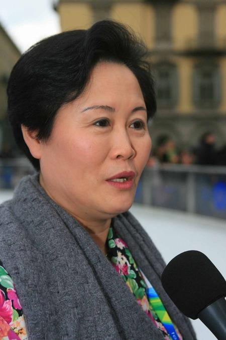 图文:花滑队接受表彰 北京奥组委官员接受采访