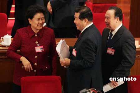 图文:贾庆林刘延东在全国政协闭幕会后交谈