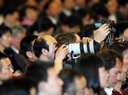 组图:温家宝记者招待会现场的记者