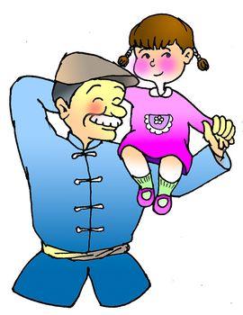 小孩背影卡通图