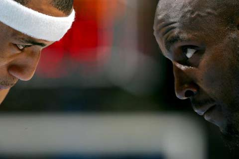 NBA图:掘金胜森林狼 加内特马丁面面相觑