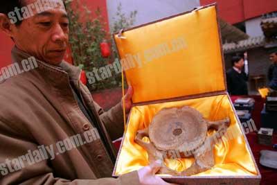 大象脊椎骨距今五六千年 罕见象骨砚现身北京