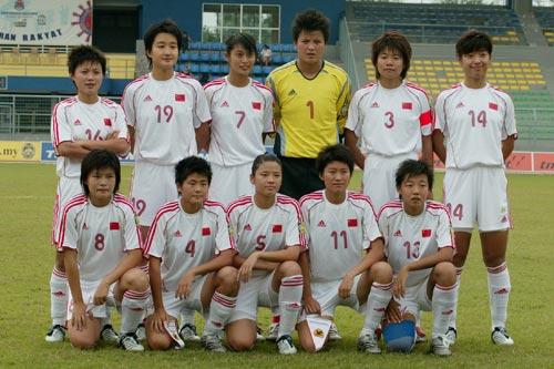 图文:女足亚青赛中国挺进决赛 中国队赛前合影