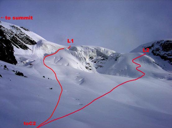 半脊峰计划攀登路线