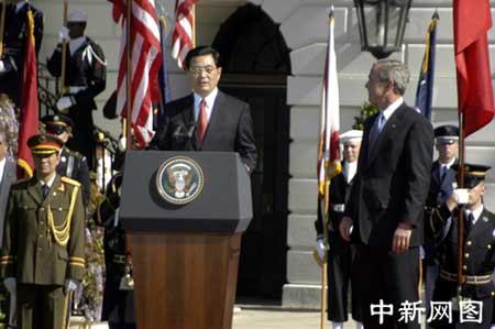 组图:中美元首分别在白宫欢迎仪式上讲话
