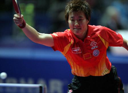 图文:中国女队首战胜捷克 郭焱在比赛中