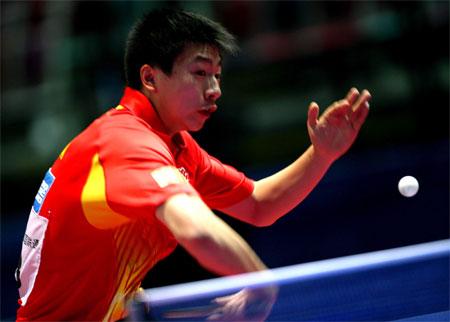 图文:世乒赛男团中国轻取荷兰 马龙初登世乒赛
